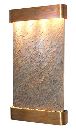 Summit Falls Water Feature with Rustic Copper Trim and Round Edges (Green ()