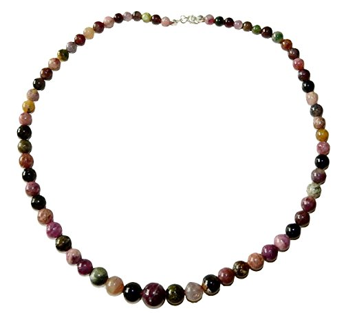 Tourmaline Necklace 03 Natural Graduated Round Beads Spiritual Healing Crystal Energy (Gift - Crystal Round Necklace Graduated