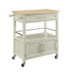 Kitchen Linon Home Decor Products Marlow Kitchen Cart, Bone White with Wood Top modern kitchen islands and carts