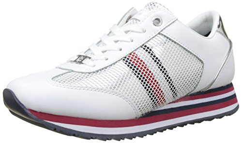 Tommy Hilfiger Tommy Corporate Flag Sneaker Womens Trainers White Silver DCd7az9n