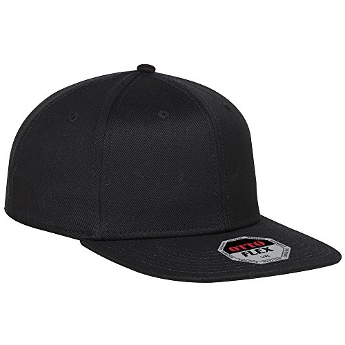 OTTO Flex Cotton Twill Square Flat Visor 6 Panel Pro Style Baseball Cap - Black
