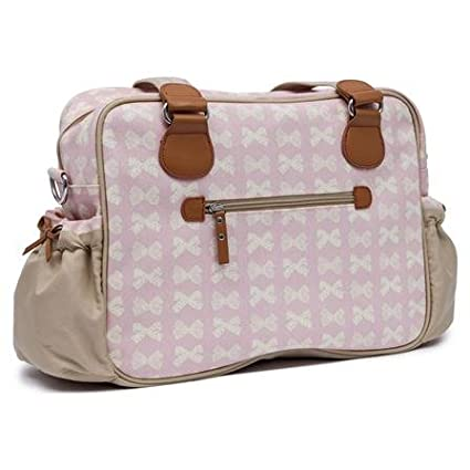 Pink Lining Not So Plain Jane Baby Changing Nappy Bag - Cream Bows on Pink