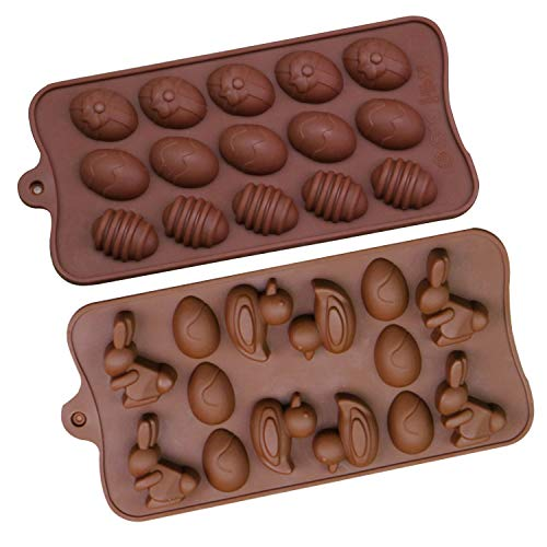 - Easter Egg Shape Rabbit Duck 2Pack Silicone Chocolate Candles Cake Baking Mold Ice Cubes Tray Bakeware for Easter