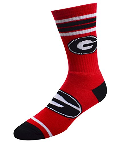 [For Bare Feet NCAA 4 Stripe Big Logo Crew Socks Mens-Size Large(10-13)-Georgia Bulldogs] (Georgia Stripe)