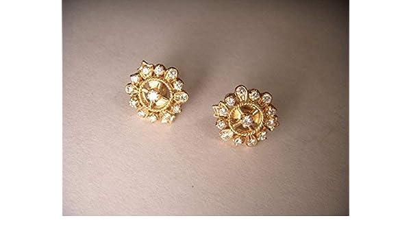 85c6d54c9 Amazon.com: Gorgeous Estate 22K 24K Yellow Gold Snowflake Diamond Stud  Earrings Studs: Handmade