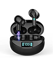 Wireless Headphones Bluetooth Earbuds, In Ear Mini Bluetooth 5.0 Earphones IP7 Waterproof CVC 8.0 Noise Cancelling Headphones 32H Playtime with USB-C LCD Display, Touch Control Wireless Headset Black