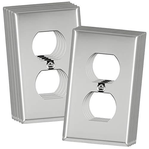 ENERLITES Duplex Receptacle Outlet Metal Wall Plate, Corrosive Resistant, Size 1-Gang 4.50