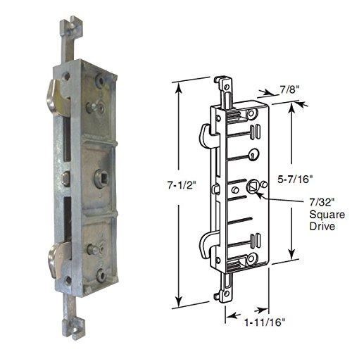 STB Sliding Glass Patio Door Lock, Mortise Type, Multi-Point, 4-7/16'' Screw Holes