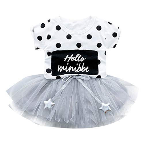 Qpika 2PCS Toddler Kid Baby Girl Dot Short Sleeve Tops Tulle Skirt Tutu Dresses Outfits ()