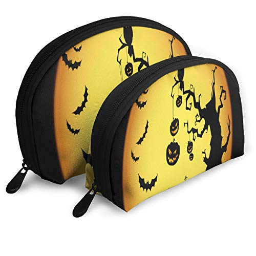Makeup Bag Halloween Pumpkin Devil Night Handy Half Moon Beauty Bags Set Holder for Women,Girls 2 Piece ()