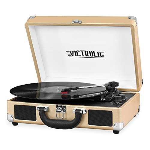 - Victrola Vintage 3-Speed Bluetooth Suitcase Turntable with Speakers, Gold Leatherette