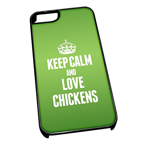 Nero cover per iPhone 5/5S 2408 verde Keep Calm and Love polli