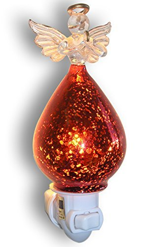 (Angel Night Light - Praying Glass Angel with Red Mercury Glass Dress - Angel Decorations)