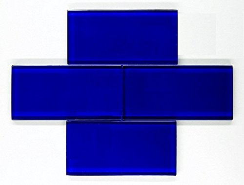 Premium Quality Cobalt Blue 3x6 Glass Subway Tile for Bathroom Walls, Kitchen Backsplashes by Vogue Tile