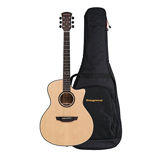 Orangewood Morgan Grand Auditorium Cutaway Acoustic-Electric Guitar with Solid Spruce Top, Fishman Sonitone EQ, Ernie Ball Earthwood Strings, and Premium Padded Gig Bag (Auditorium 12 String Acoustic Guitar)