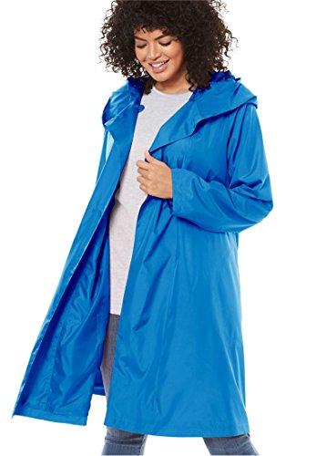 Women's Plus Size Packable Hooded Raincoat With Zip Bag Light Sapphire,22 W (Hood Plus)