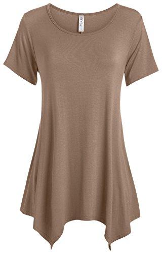 Mocha Brown Tunic Top for Women Reg and Plus Size Tunics for Leggings Short Sleeve (Size XX-Large, Mocha)
