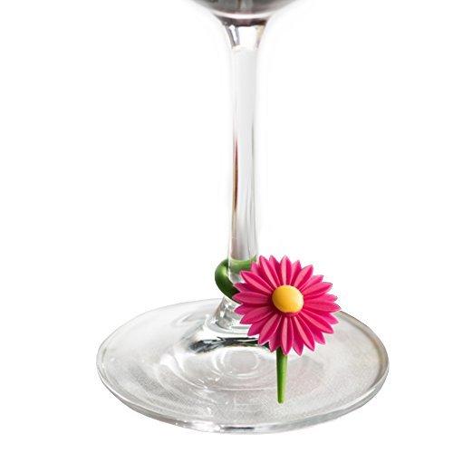 Trudeau Daisy Multi-Colored Silicone Wine and Stemware Charm, Set of 12