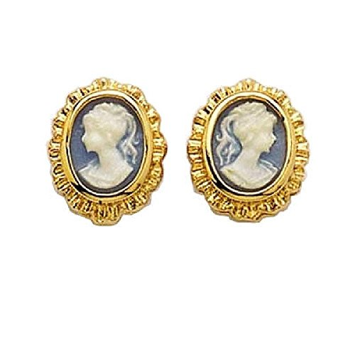 Gold Earrings Cameo - So Chic Jewels - 18k Gold Plated Blue Cameo Stud Earrings