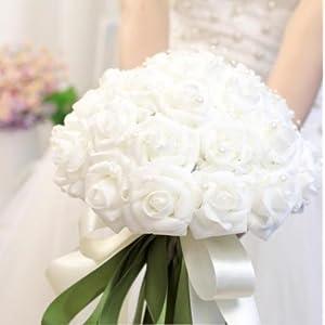 30 Rose Bridal Wedding Bouquets Artificial Silk Flower White 66
