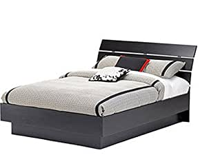 wood full size platform bed frame with headboard black home bedroom bed furniture. Black Bedroom Furniture Sets. Home Design Ideas