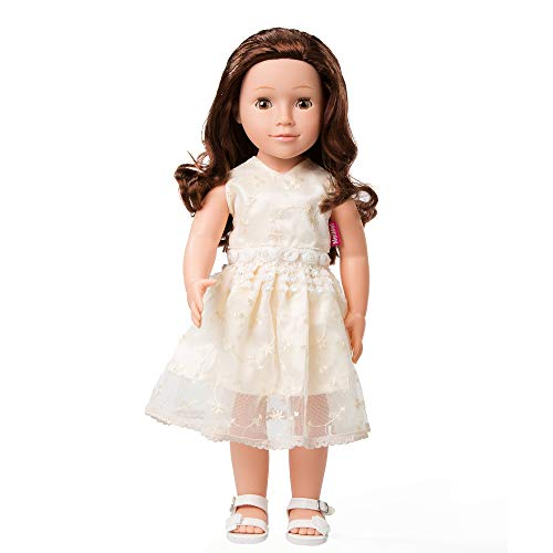 MeiMei 18 inch Girl Doll with Brown Hair Brown Eyes Full Vinyl Dress Toy Gift Box for Kids Age 3+