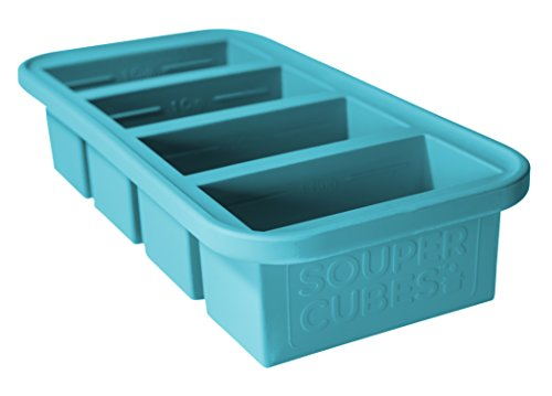 Souper Cubes Extra-Large Silicone Ice Cube Tray - makes 4 perfect 1cup portions - freeze soup broth or sauce (Cubes Soup)