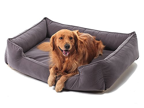 Petsbao Premium Orthopedic Dog Bed & Lounge with Solid Memory Foam | Waterproof Liner | Washable Removable Cover | Superior Comfort to Ease Pain of Arthritis & Hip Dysplasia (Large, Grey) (Lounge Orthopedic Super)