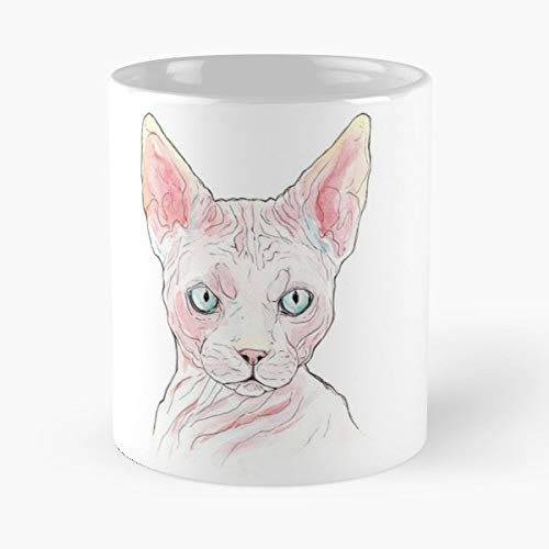 Hairless Cat Funny Halloween (Hairless Cat Classic Mug - The Funny Coffee Mugs For Halloween, Holiday, Christmas Party Decoration 11 Ounce White)