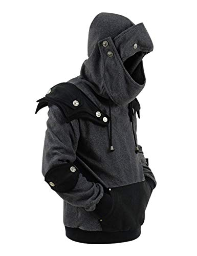 Men's Arthur Knight Hoodie Medieval Armor Sweatshirt Hooded Jacket Coat Outwear Costume (Men XL, Gray(Black))]()