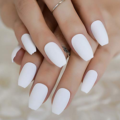 Coffin Fake Nails Metallic Mirror Link Pink Ballerina Press On Fingernails Reflection Hight Ling Finger Tips 24 L5024