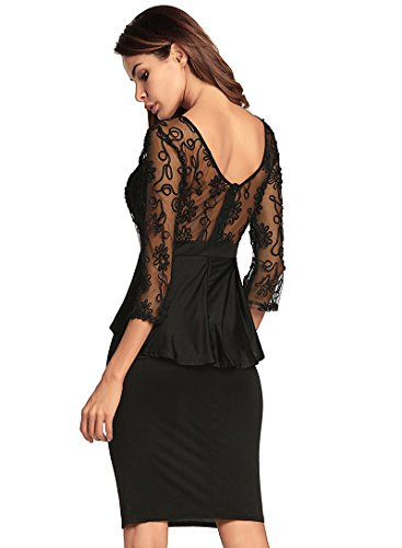 bodycon fiesta club Size atractivo negro del XL Vestido color estiramiento del fuera del las sin espalda Yao remiendo para vestido el en mujeres con ahueca hacia v de cordón cuello del tq4CWEw