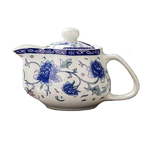 Teapot 17oz/500ml Blue white porcelain china peony Stainless steel mesh