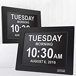 [Newest Version] American Lifetime Day Clock - Extra Large Impaired Vision Digital Clock with Battery Backup & 5 Alarm Options (Black - 2 pack)
