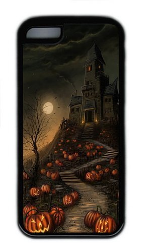 Apple iPhone 5C Case Cover - Halloween Haunted House TPU Case Cover For iPhone 5C - Black (Haunted Houses Ideas)