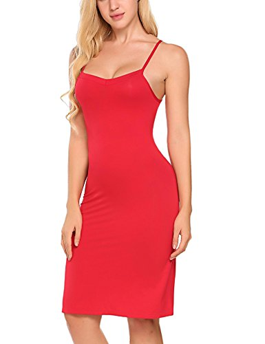 Straight Women Red Neck Nightie Sexy Cotton Blend Full Slip Nightdress Dress V ZnwTxZP