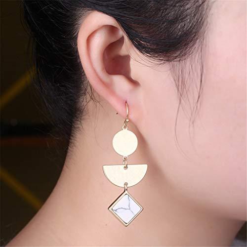 Sinfu Women's Multilayer Geometric Pendant Long Earrings - Round + Semicircle + Prismatic Three Layers Pendant Earrings Jewelry (White) ()
