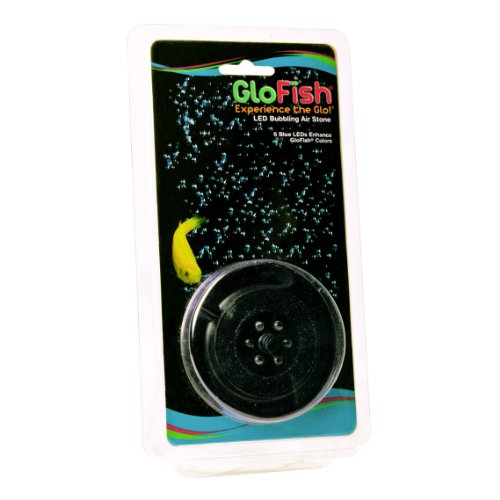 GloFish Round Aquarium LED Bubbling Air Stone, 6 Blue LEDs