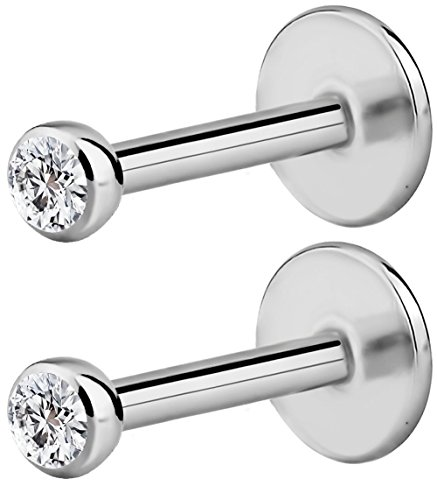 Forbidden Body Jewelry 2-Pack: 18G 6mm Surgical Steel Internally Threaded Micro CZ Gem Top Tragus/Helix/Labret Stud with 2mm Top (Gauge Surgical Steel Labret)
