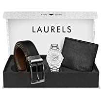 Laurels Combo Pack: White Day & Date Function Watch Black L