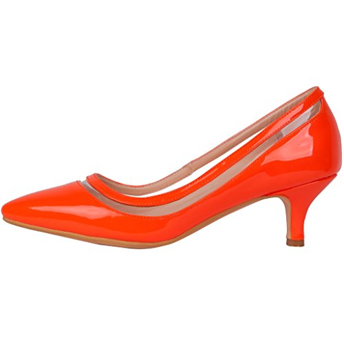 Calaier Womens Experience Closed-Toe 9.5CM Stiletto Slip-On Pumps Shoes Orange E2oCUo9AN6
