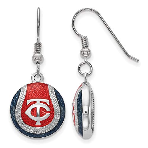 MLB Minnesota Twins Sterling Silver Minnesota Twins Domed Enameled Baseball Earrings Size One Size