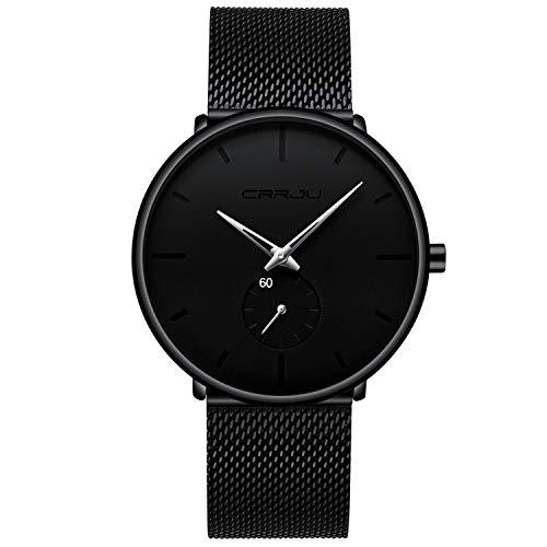 Men's Watch Unisex Minimalist Watch Waterproof Watch Military Watch Classic Gift Mesh with Silver Pointer(X)