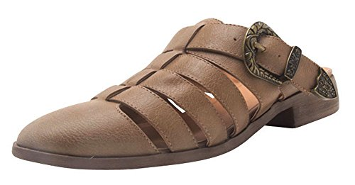 Cambridge Select Women's Caged Cutout Closed Round Toe Western Buckle Slip-On Chunky Stacked Low Heel Slide Mule Taupe Pu
