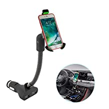 Cigarette Cell Phone Holder For Car,Car Phone Mount Holder With USB Charger For iPhone X 8/7/6S Plus Galaxy S8/S7/S6 Edge Note 8 /6/5/4/3 LG,Nexus and GPS devices