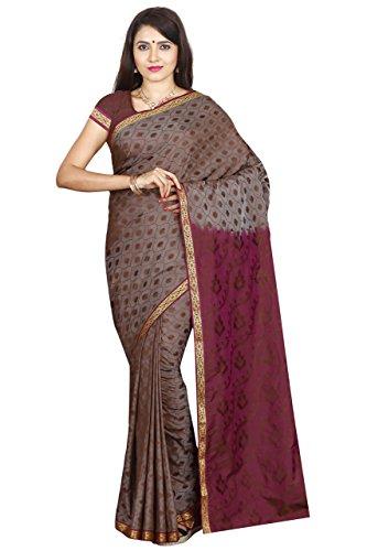 arars Women's Artificial Silk Saree Kanchipuram Style Free Size Chocolate