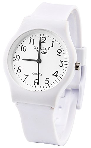 Sunshine Boys Girls Watches,Teenagers Kids Student Time Wrist Watch Soft Comfortable Silicone Band Mini (Pure White)