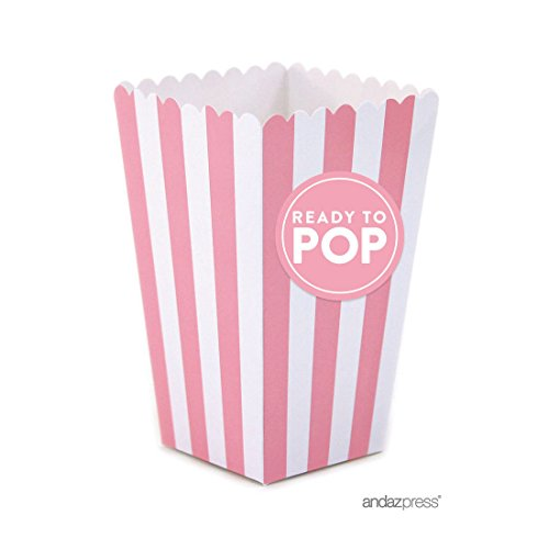 Andaz Press Ready to Pop Baby Shower Collection, Favors Kit with Mini Striped Popcorn Boxes and Labels, Girl, Pink, (Baby Shower Popcorn Favors)