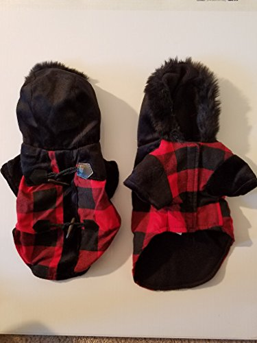 New Black and Red Dog Pea Coat: Small: H - Happy Bunny Winter Hat Gloves Shopping Results