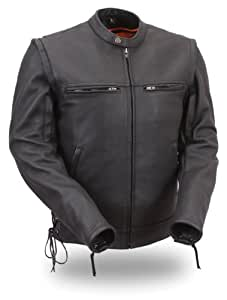 First Manufacturing Men's Vented Sleek Scooter Jacket with Zip-Off Sleeve (Black, Small)